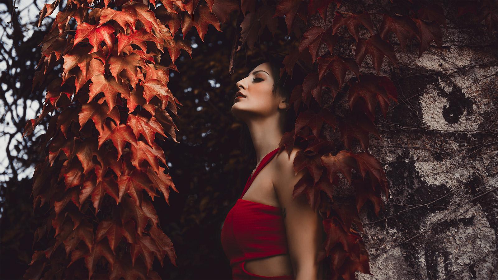 ritratto di una modella d'autunno